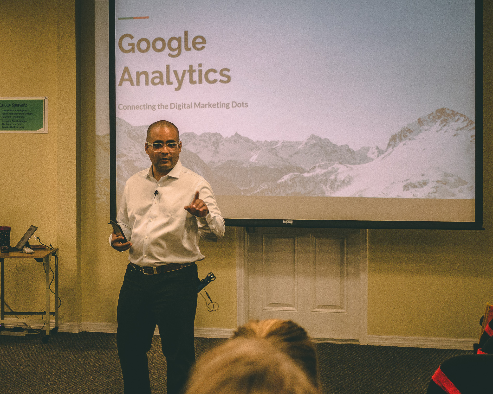 Angel Anderson Google Analytics presentation at the Greater Hernando Chamber of Commerce